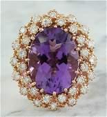 10.19 Carat Amethyst 14K Rose Gold Diamond Ring