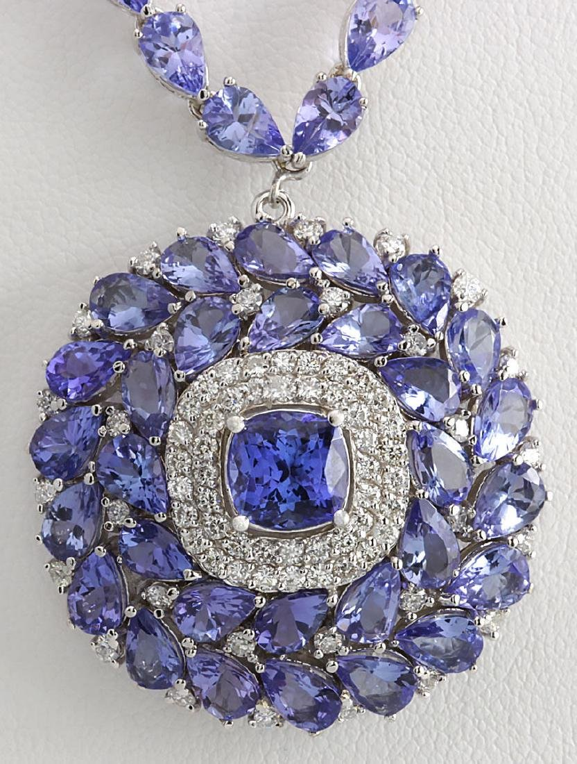 40.79 CTW Natural Tanzanite And Diamond Necklace In 14k