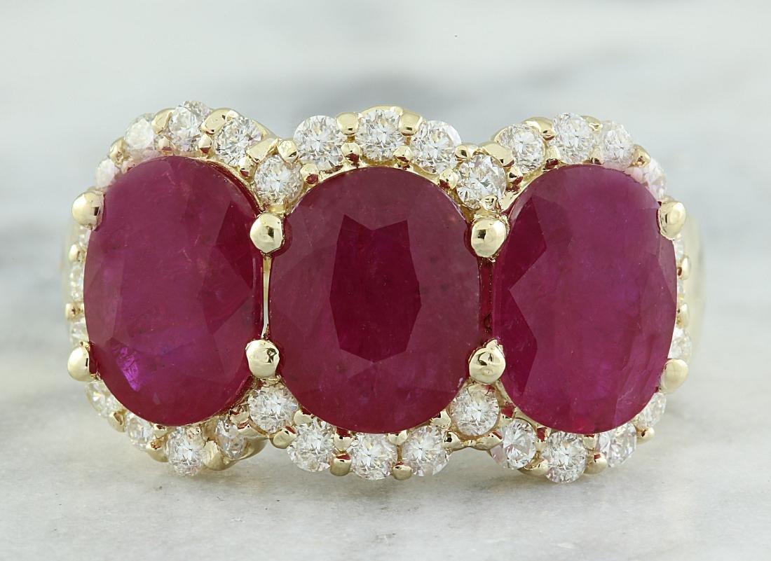 8.32 Carat Ruby 14K Yellow Gold Diamond Ring
