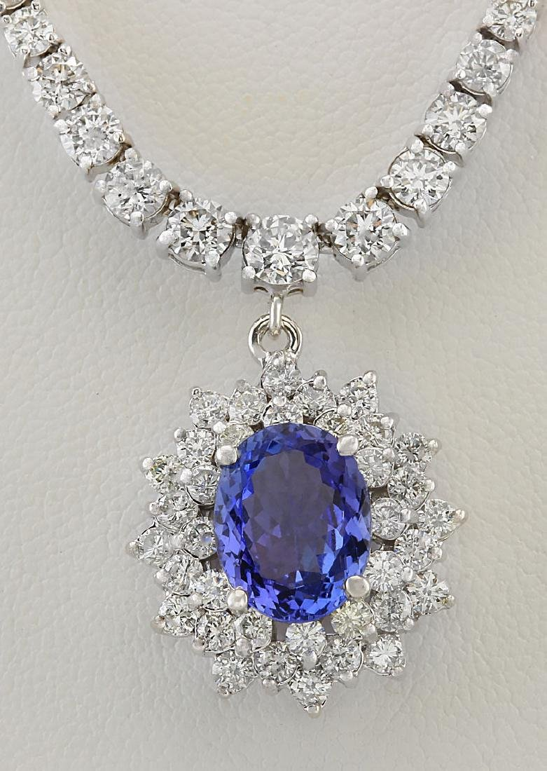 9.43 CTW Natural Tanzanite And Diamond Necklace In 14k