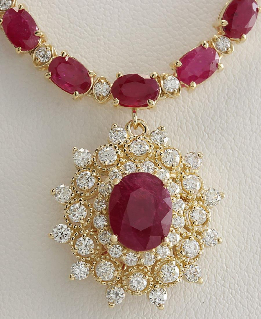 40.45CTW Natural Ruby And Diamond Necklace In 14K
