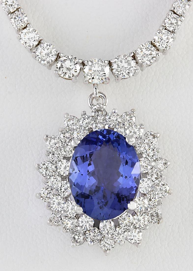 12.13 CTW Natural Tanzanite And Diamond Necklace In 14K