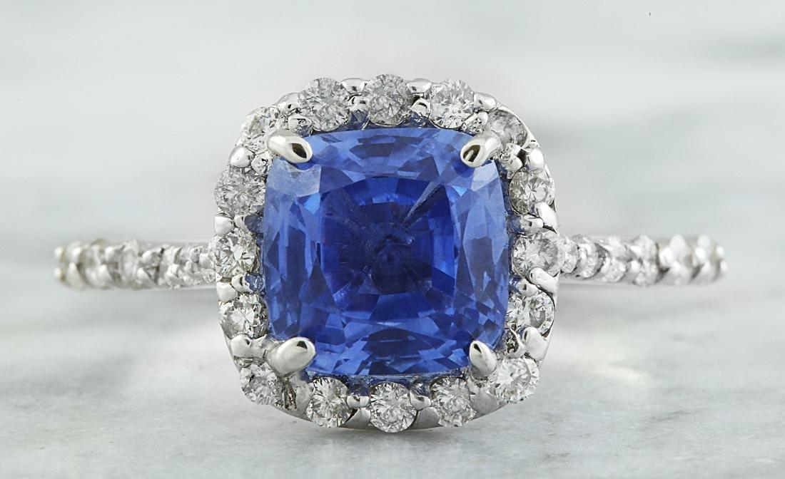 3.15 Carat Sapphire 14K White Gold Diamond Ring