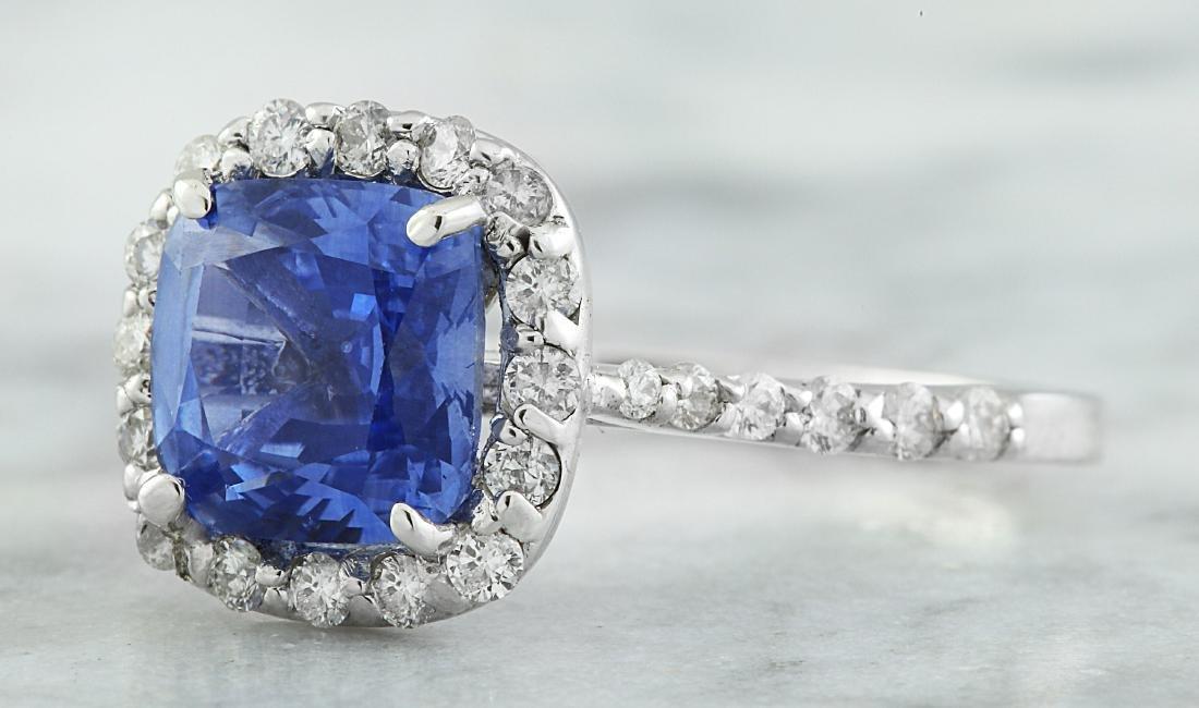 3.15 Carat Sapphire 14K White Gold Diamond Ring - 2