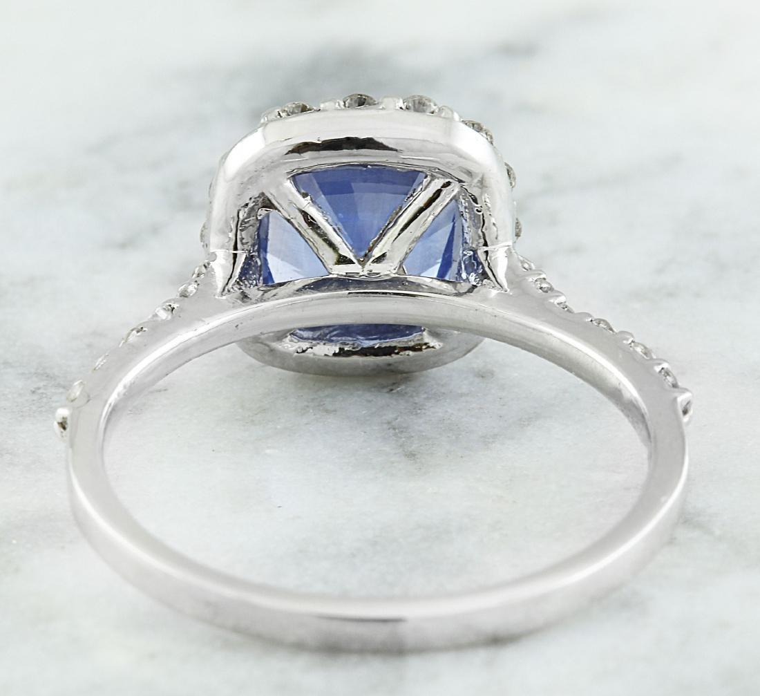 3.15 Carat Sapphire 14K White Gold Diamond Ring - 3
