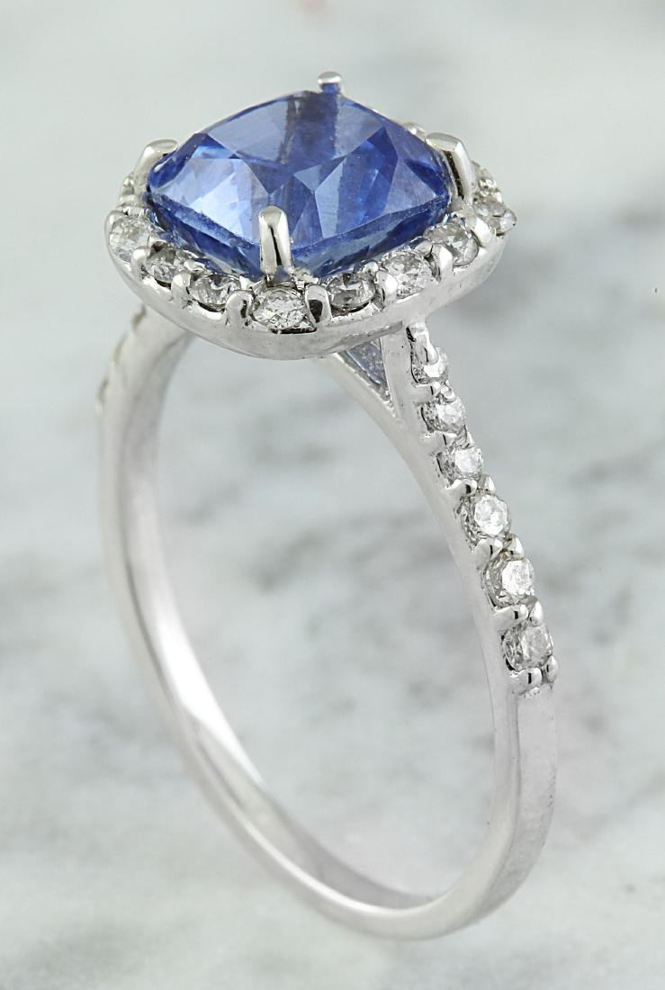 3.15 Carat Sapphire 14K White Gold Diamond Ring - 4