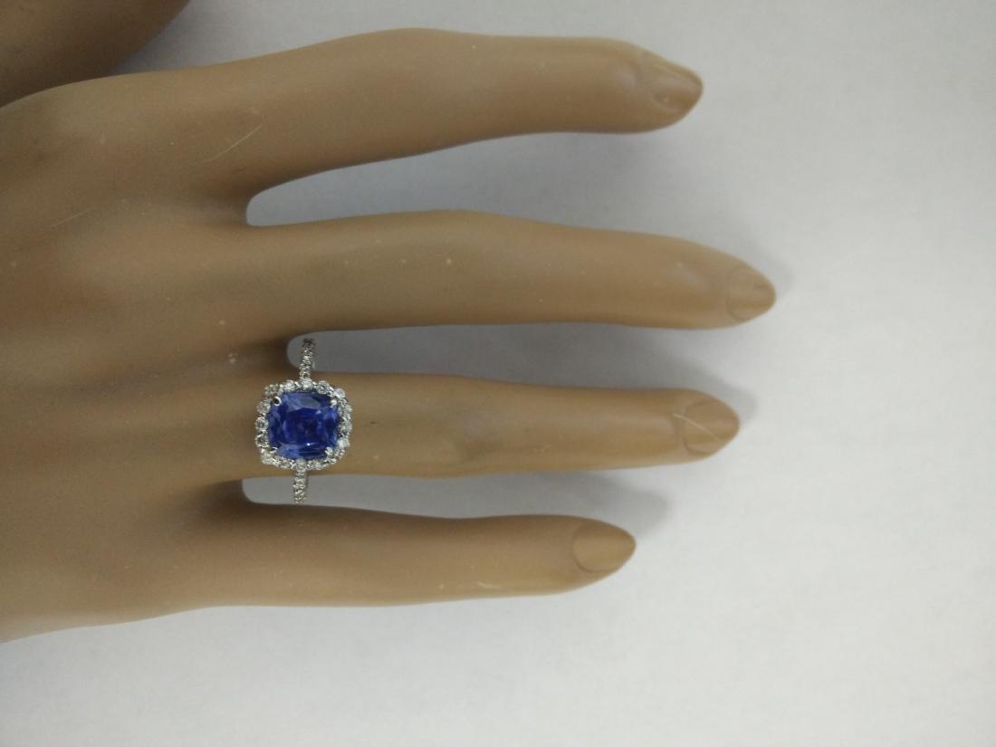 3.15 Carat Sapphire 14K White Gold Diamond Ring - 5