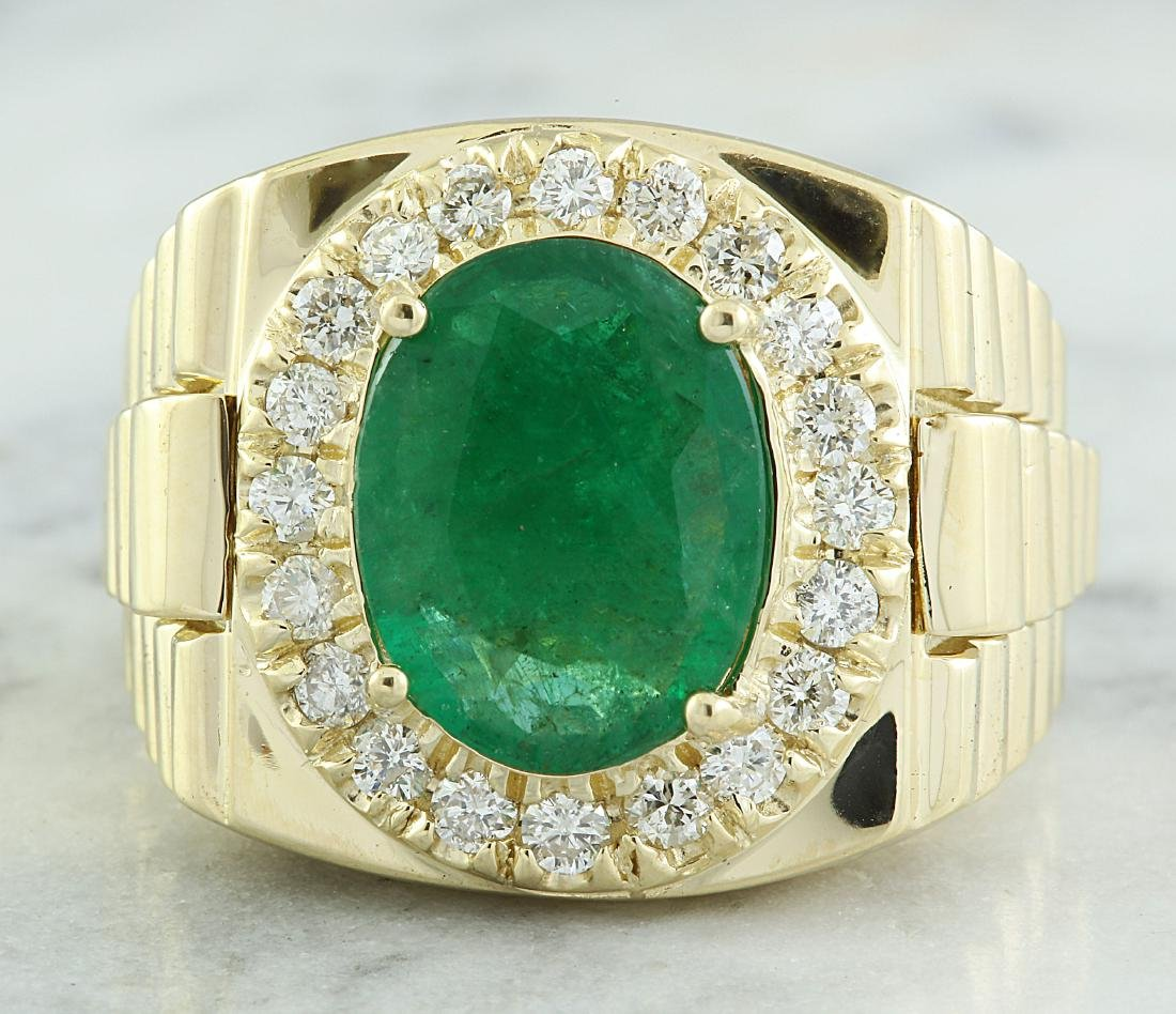 4.59 Carat Mens Emerald 18K Yellow Gold Diamond Ring