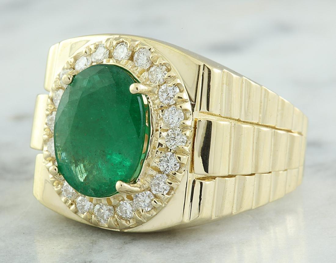 4.59 Carat Mens Emerald 18K Yellow Gold Diamond Ring - 2