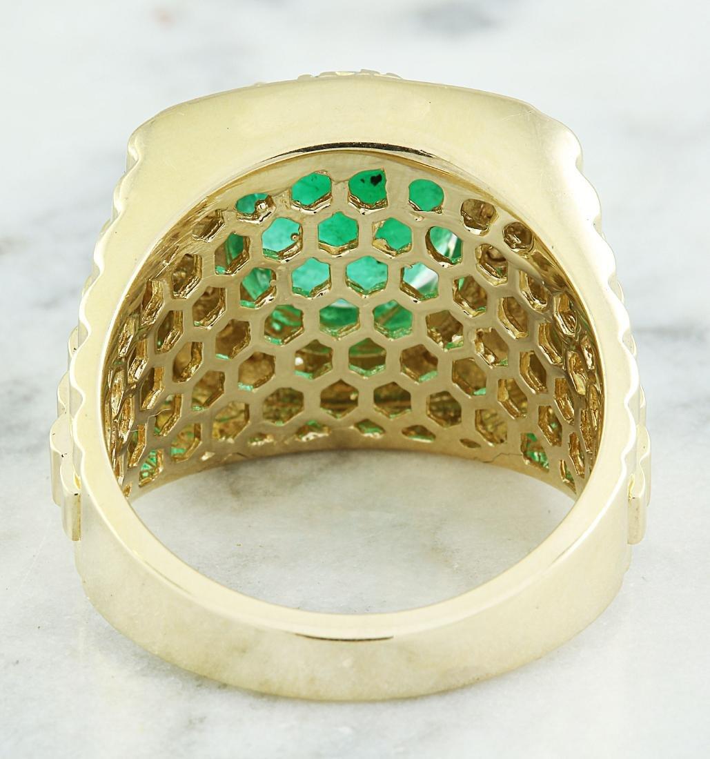 4.59 Carat Mens Emerald 18K Yellow Gold Diamond Ring - 3