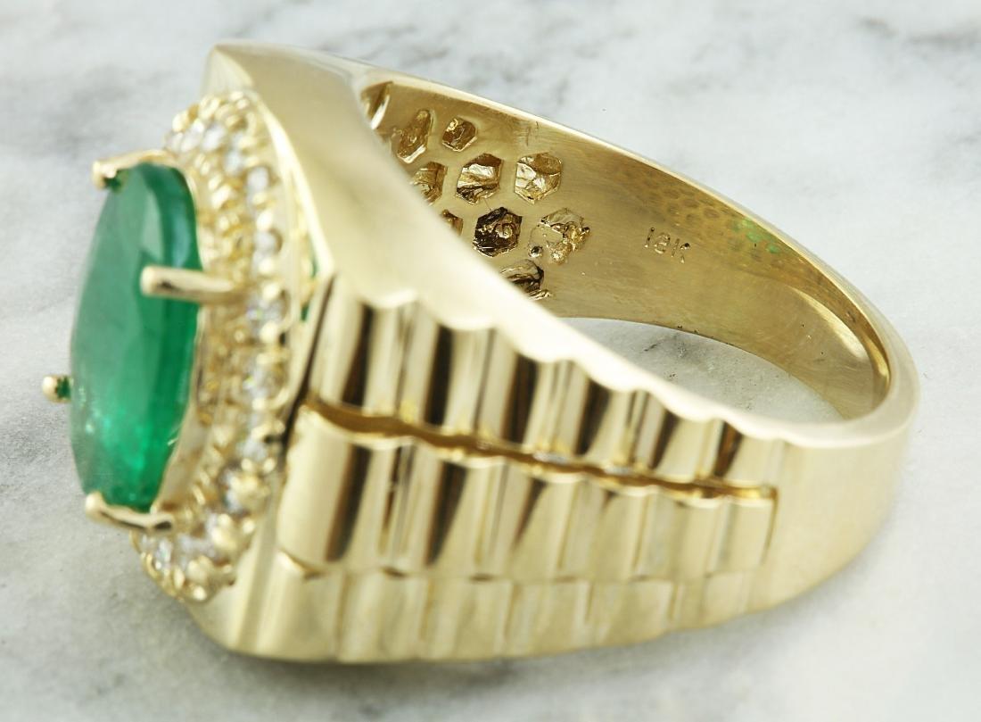 4.59 Carat Mens Emerald 18K Yellow Gold Diamond Ring - 4