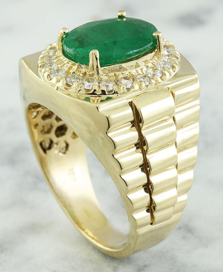 4.59 Carat Mens Emerald 18K Yellow Gold Diamond Ring - 5