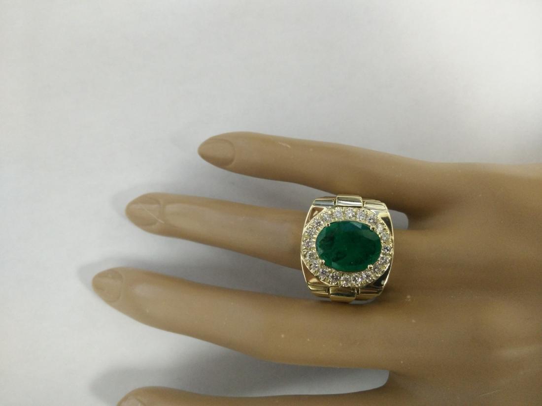 4.59 Carat Mens Emerald 18K Yellow Gold Diamond Ring - 6