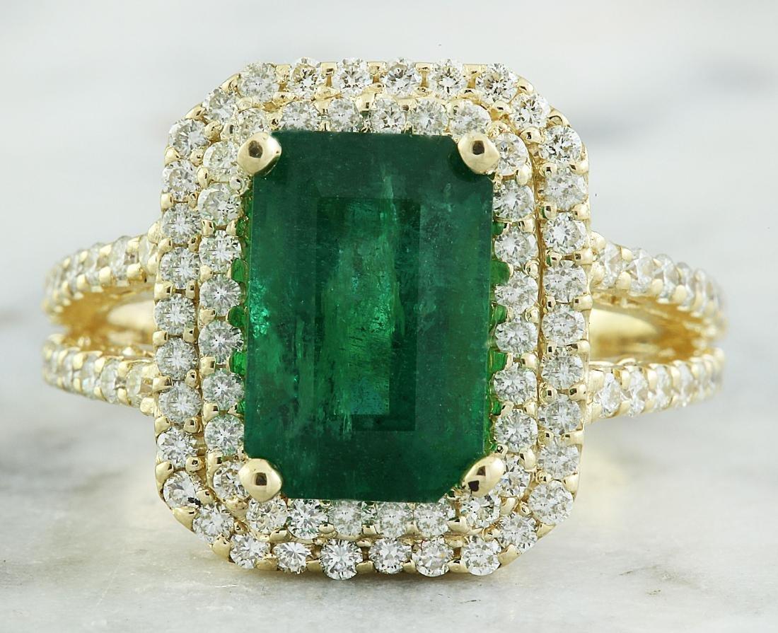 4.42 Carat Emerald 18K Yellow Gold Diamond Ring
