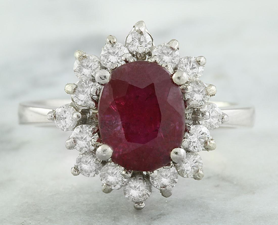 3.50 Carat Ruby 18K White Gold Diamond Ring