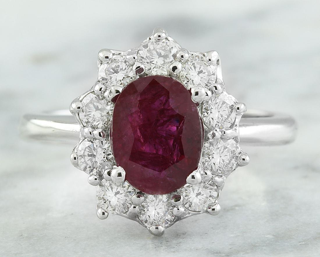 2.81 Carat Ruby 18K White Gold Diamond Ring