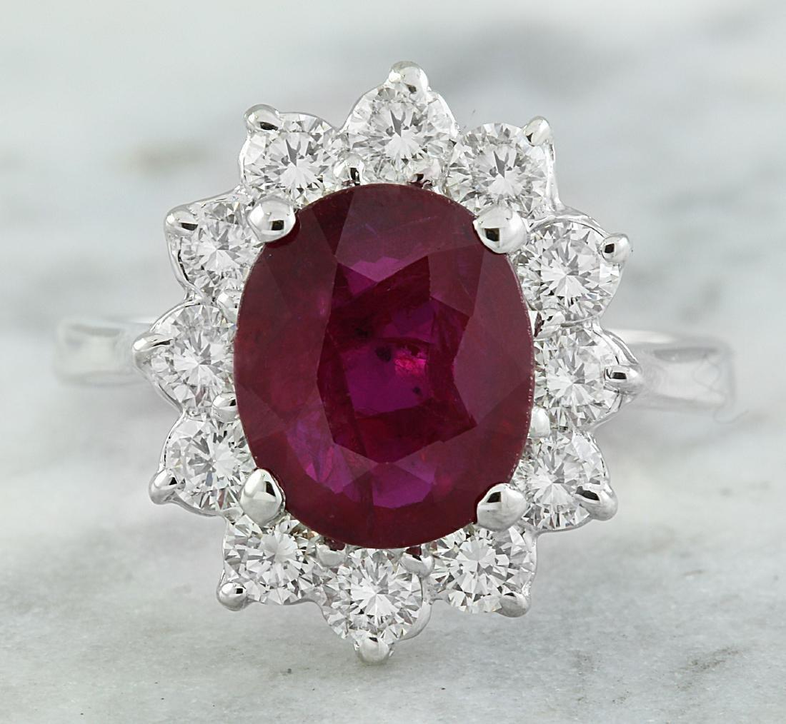 3.35 Carat Ruby 18K White Gold Diamond Ring