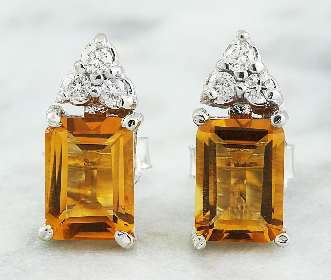 2.65 Carat Citrine 14k White Gold Diamond Earrings