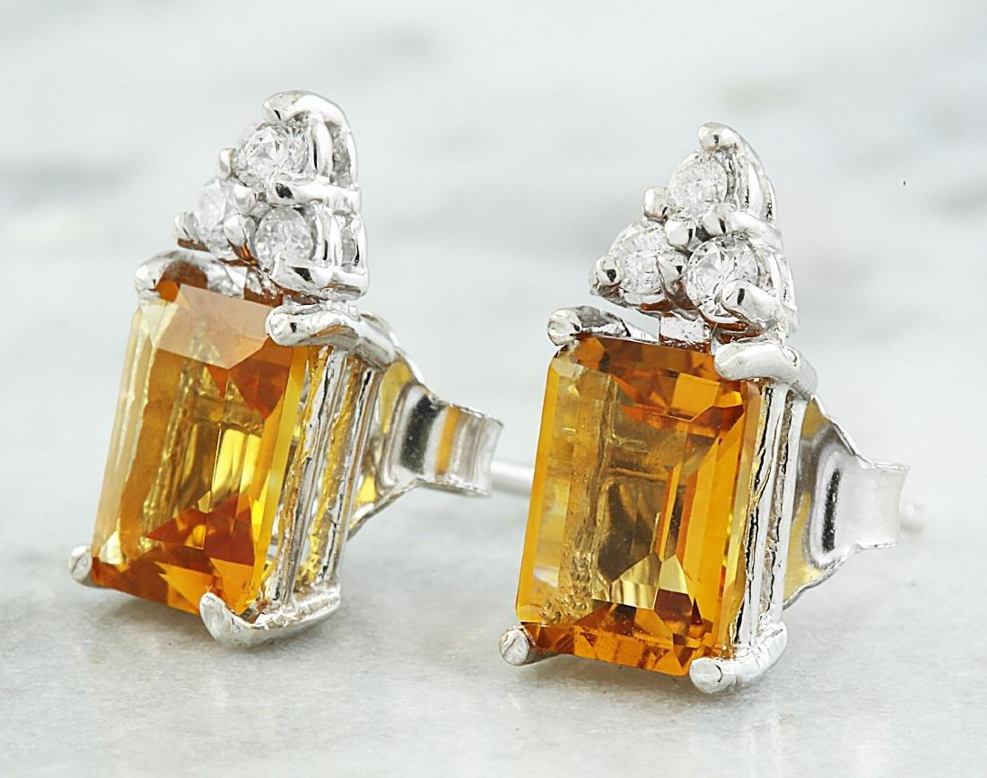 2.65 Carat Citrine 14k White Gold Diamond Earrings - 2