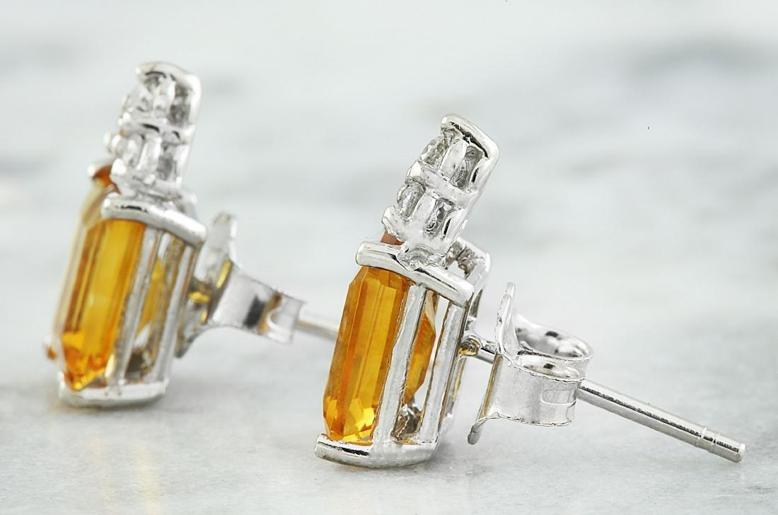 2.65 Carat Citrine 14k White Gold Diamond Earrings - 3