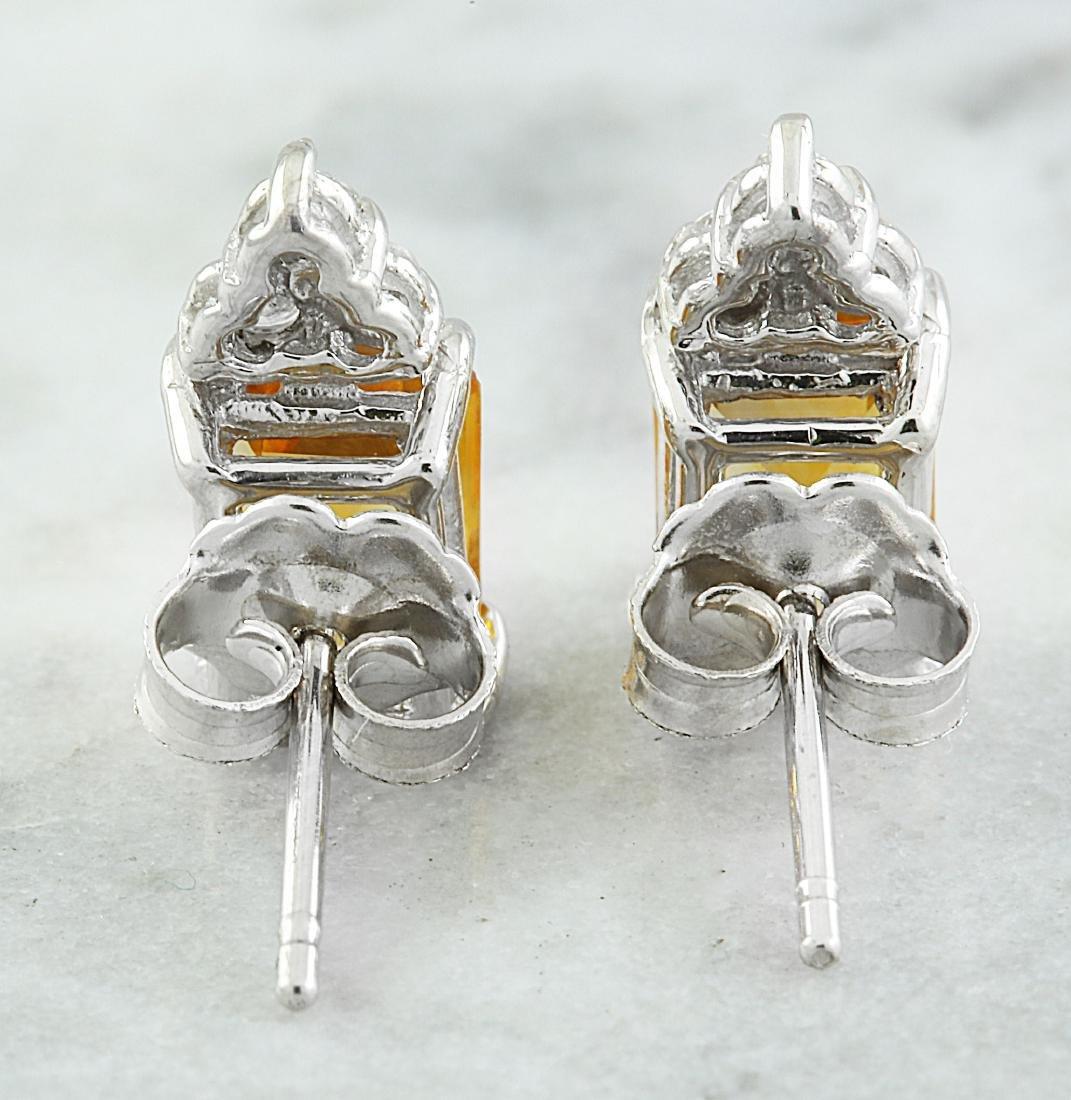 2.65 Carat Citrine 14k White Gold Diamond Earrings - 4