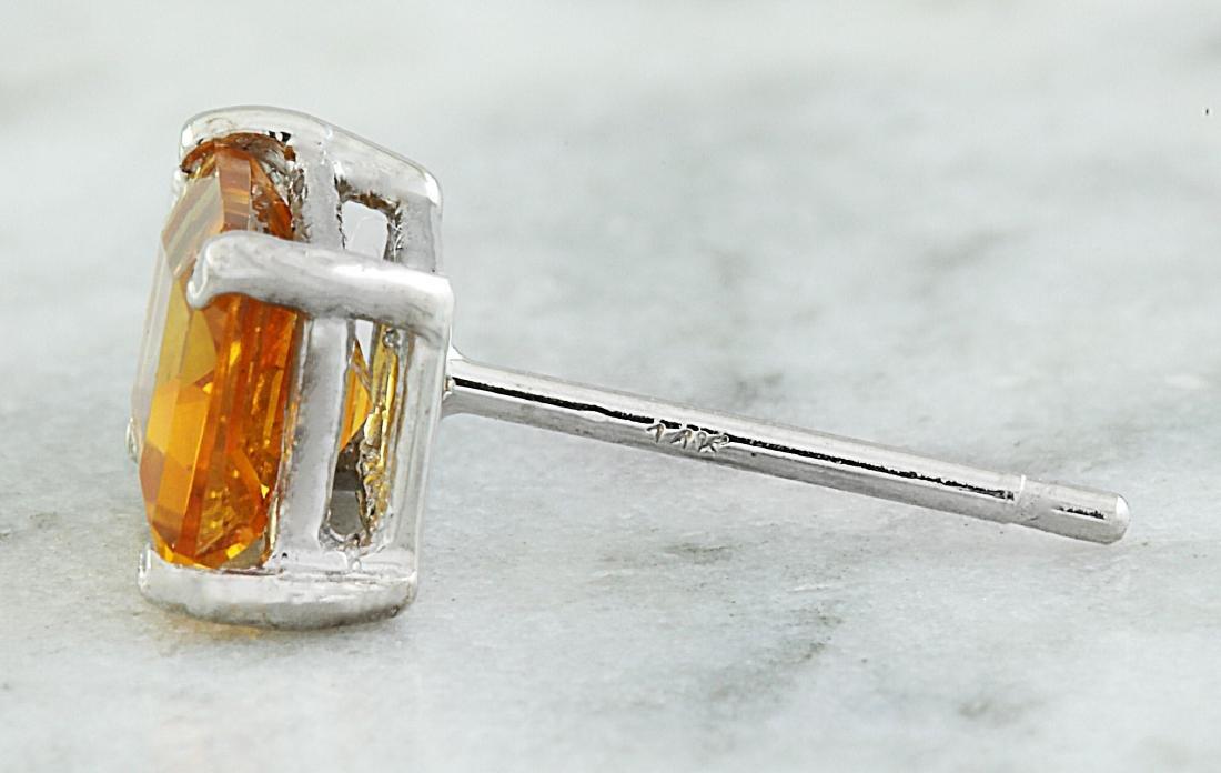 2.65 Carat Citrine 14k White Gold Diamond Earrings - 5