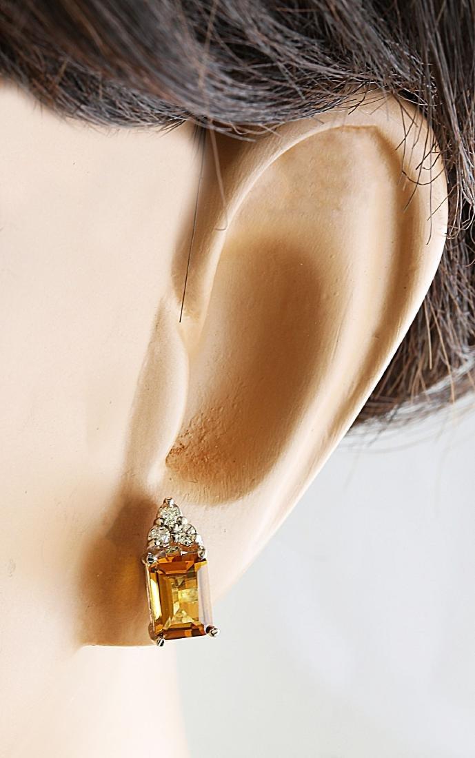 2.65 Carat Citrine 14k White Gold Diamond Earrings - 6