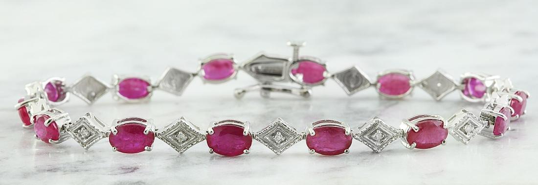 8.50 Carat Ruby 14K White Gold Diamond Bracelet