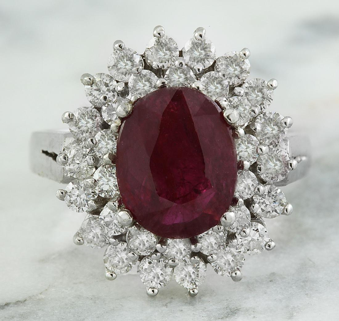 3.54 Carat Ruby 18K White Gold Diamond Ring