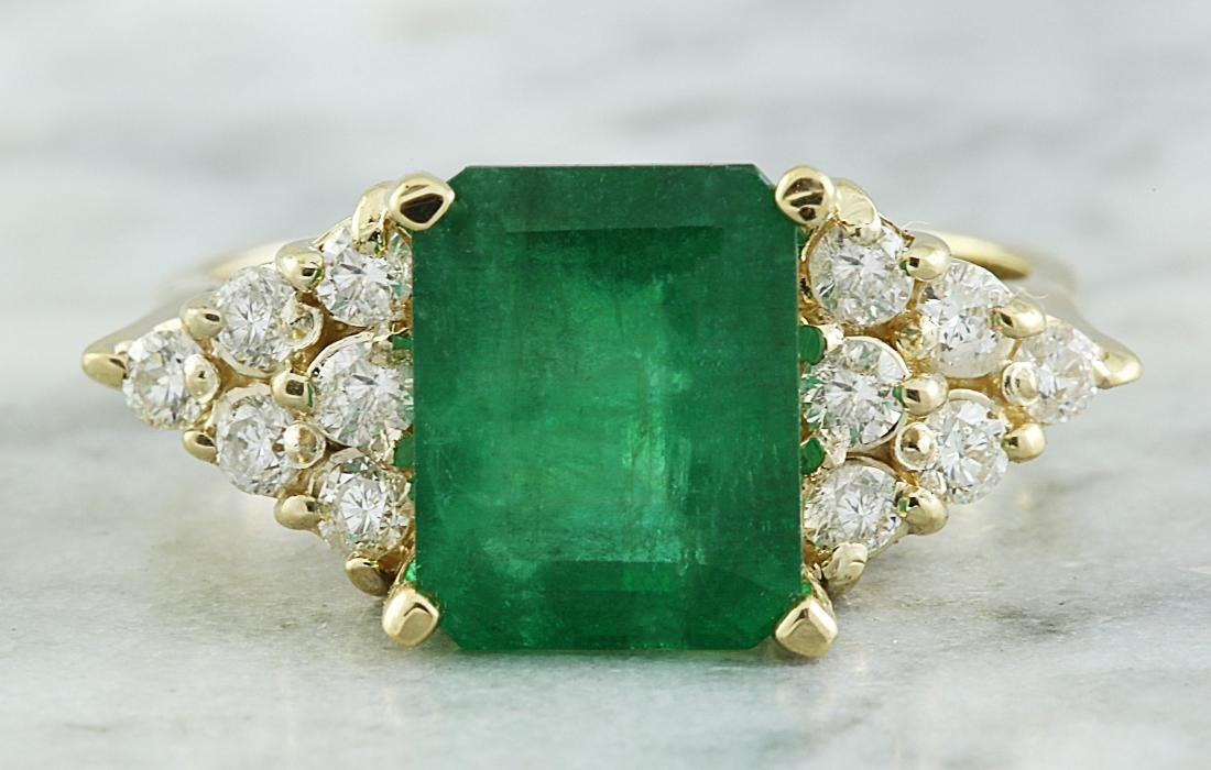 3.32 Carat Emerald 18K Yellow Gold Diamond Ring