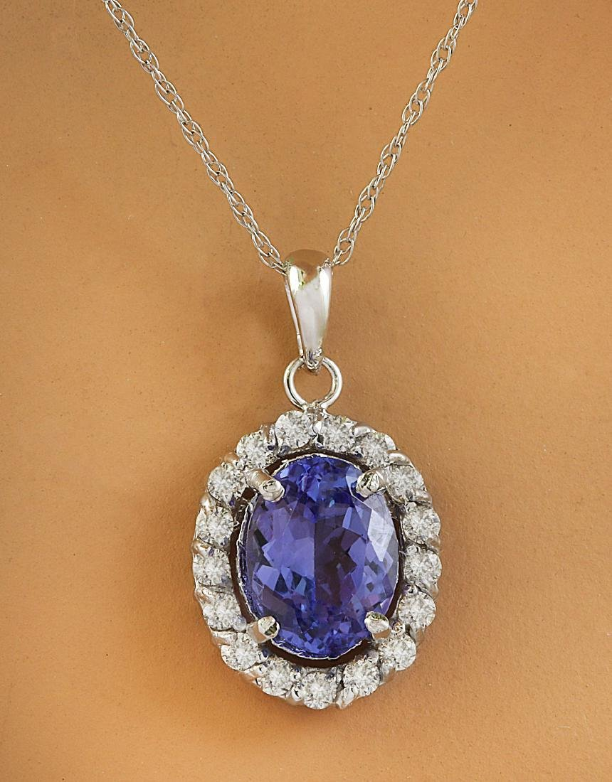 2.00 Carat Tanzanite 14K White Gold Diamond Necklace
