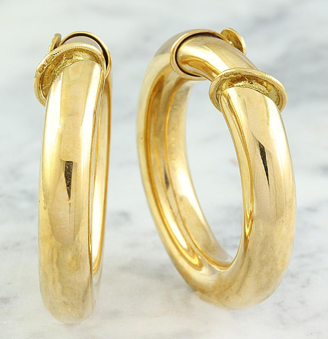 Authentic Cartier 18K Yellow Gold Hoop Earrings