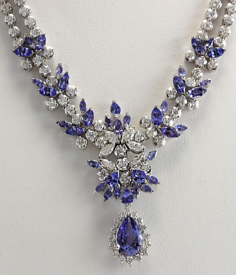 19.42CTW Natural Tanzanite And Diamond Necklace In 14K