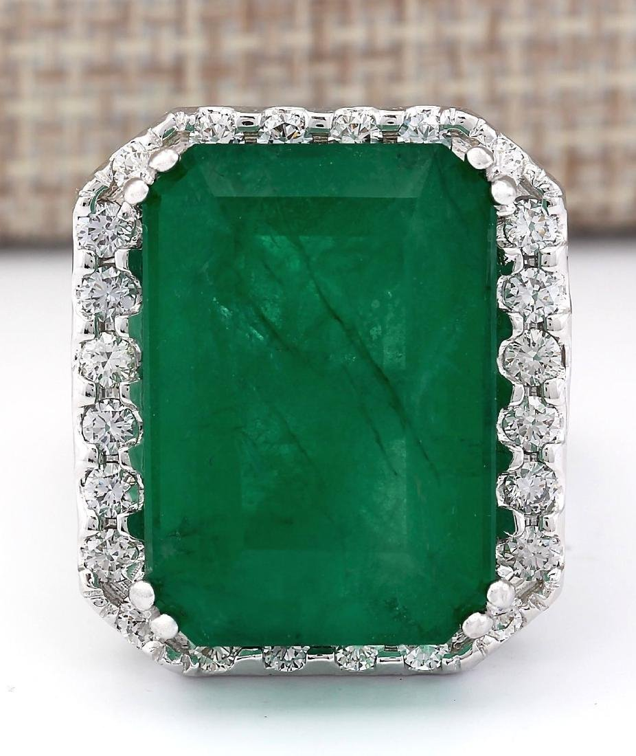 22.76 CTW Natural Emerald And Diamond Ring In 14k White