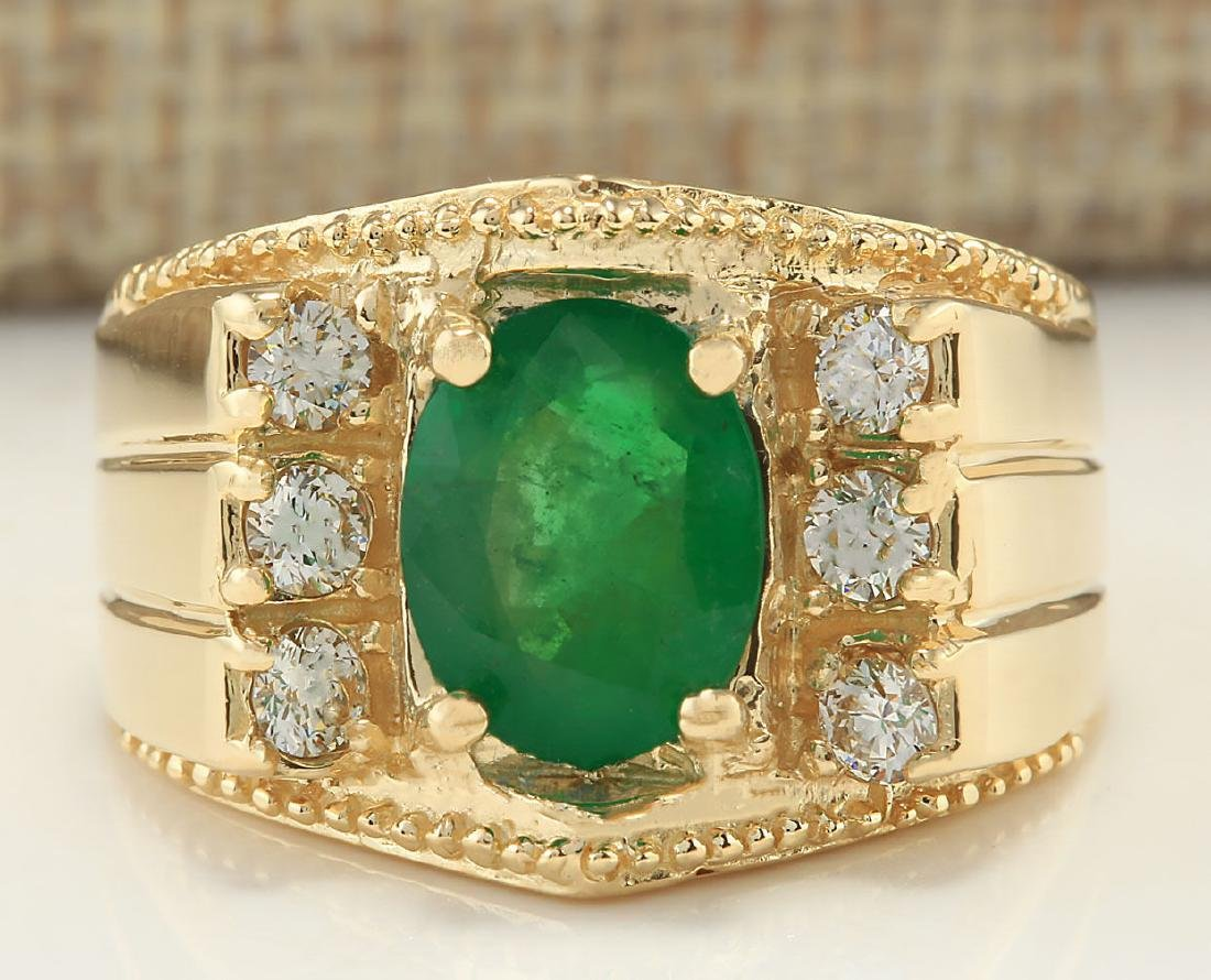 2.87CTW Natural Emerald And Diamond Ring In 14K Yellow