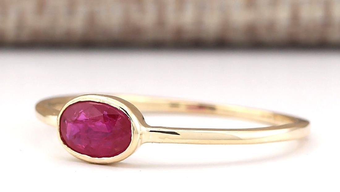 0.60 CTW Natural Ruby Ring In 14k Yellow Gold - 2