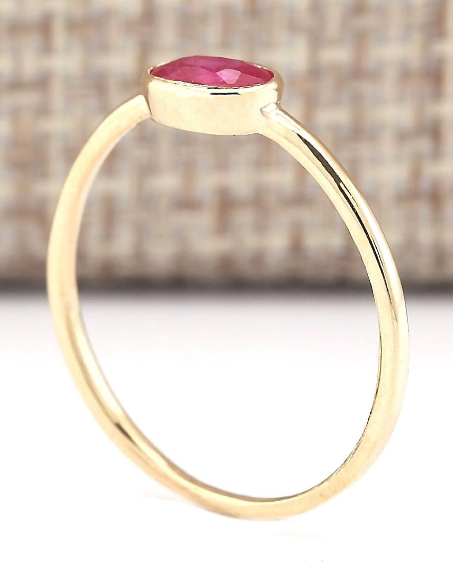 0.60 CTW Natural Ruby Ring In 14k Yellow Gold - 3