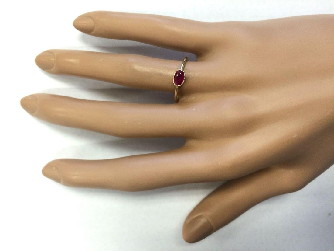 0.60 CTW Natural Ruby Ring In 14k Yellow Gold - 4