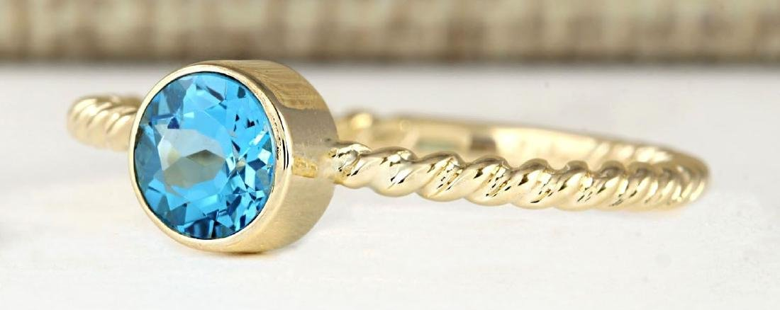 1.00 CTW Natural Blue Topaz Ring In 14k Yellow Gold - 2