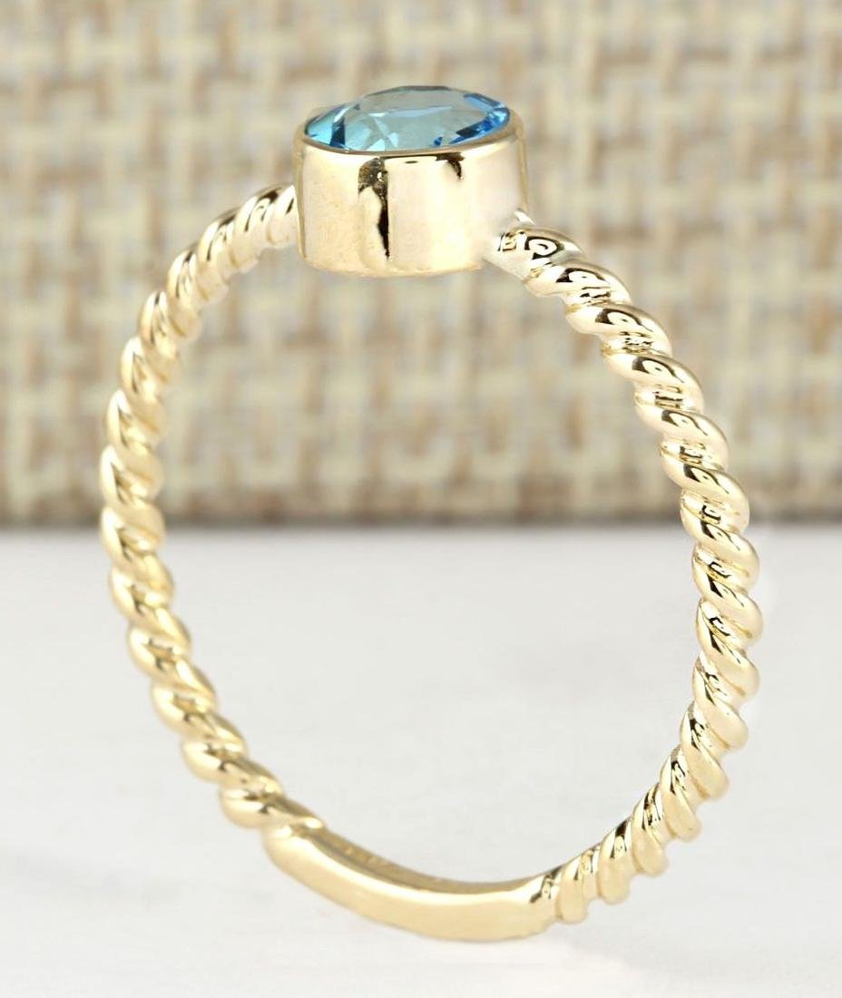 1.00 CTW Natural Blue Topaz Ring In 14k Yellow Gold - 3