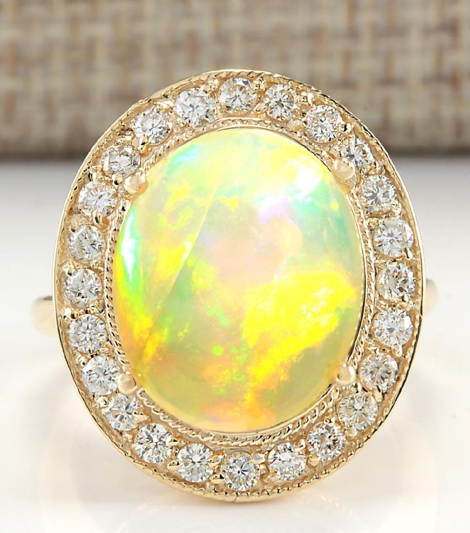 7.21CTW Natural Opal And Diamond Ring In 14K Solid