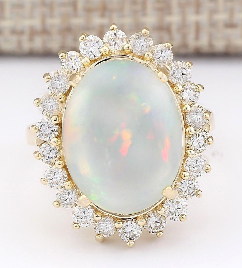 7.26 CTW Natural Opal And Diamond Ring In 14k Yellow