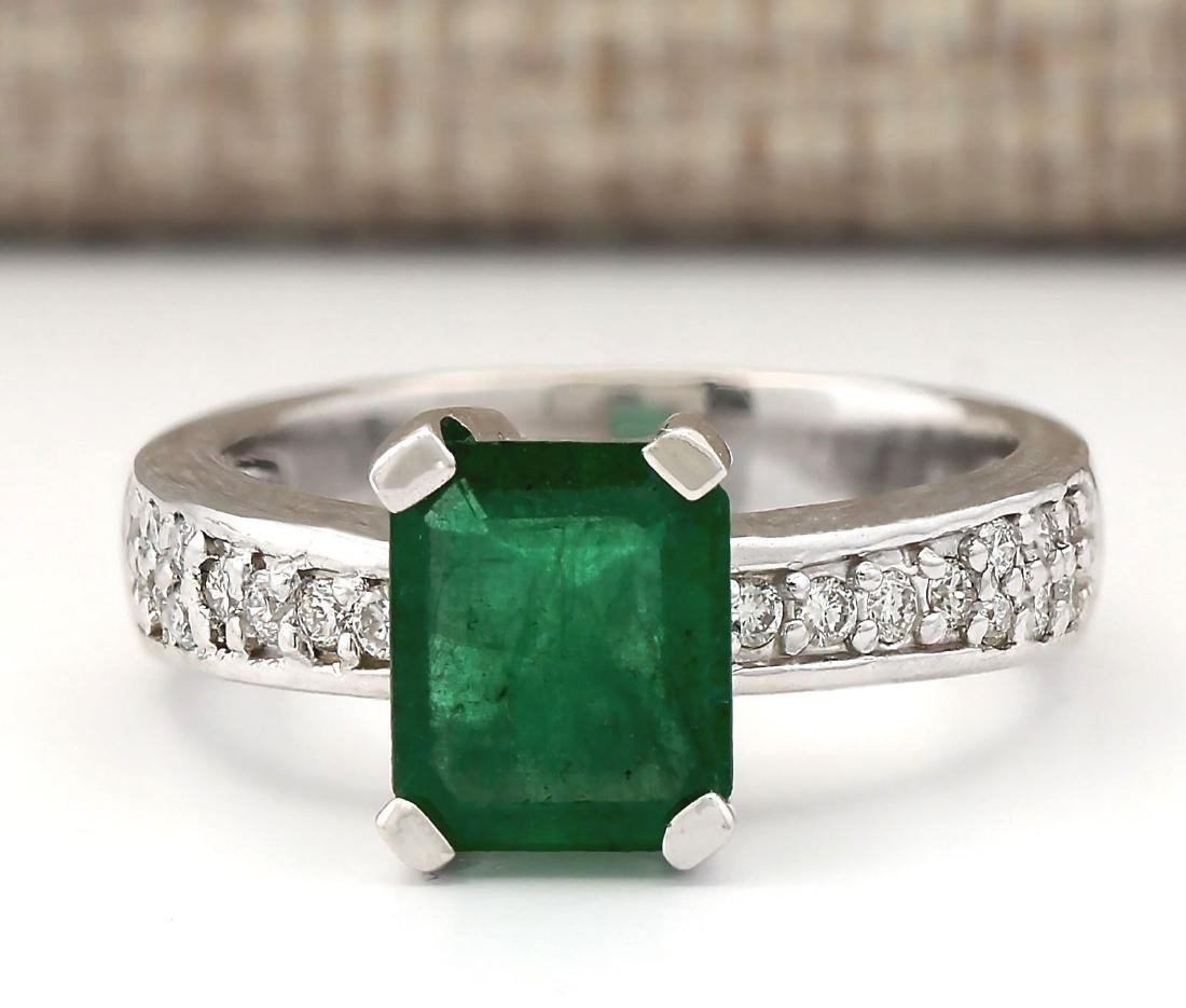 2.06 CTW Natural Emerald And Diamond Ring In 14k White