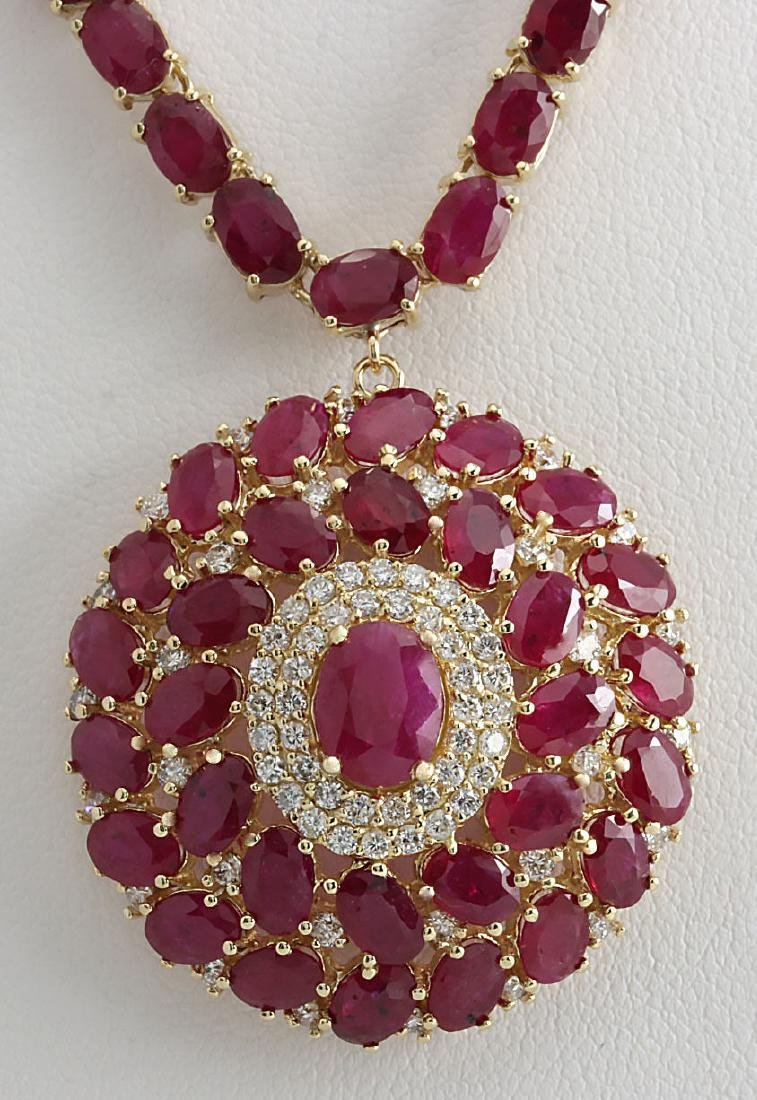 58.96CTW Natural Ruby And Diamond Necklace In 14K