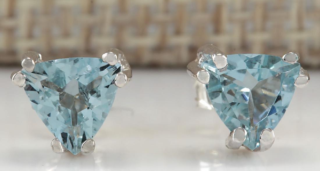 1.70CTW Natural Aquamarine Earrings 14K Solid White