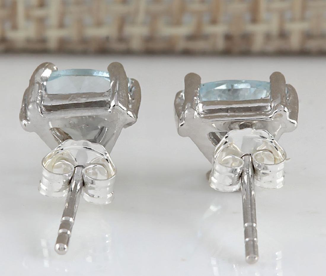 1.70CTW Natural Aquamarine Earrings 14K Solid White - 2