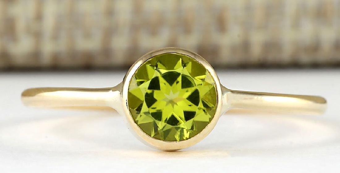 1.00 CTW Natural Peridot Ring In 14k Yellow Gold