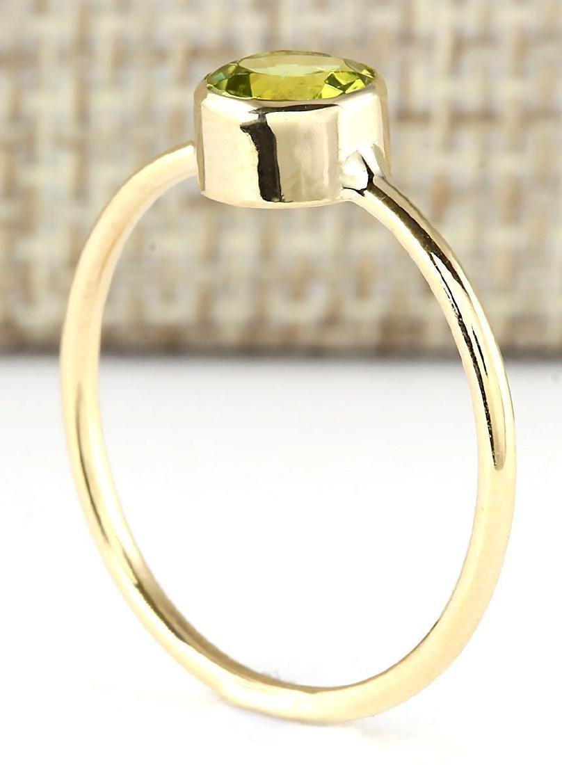 1.00 CTW Natural Peridot Ring In 14k Yellow Gold - 3