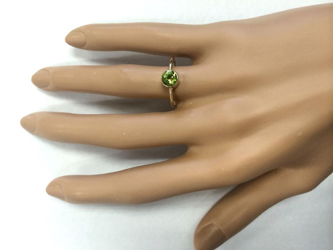 1.00 CTW Natural Peridot Ring In 14k Yellow Gold - 4