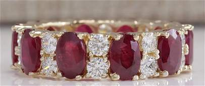 807CTW Natural Red Ruby Diamond Ring 14K Solid Yellow